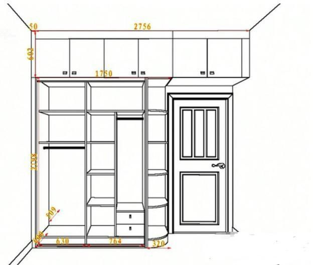 赏析丨30款流行衣柜尺寸设计图,手把手教你打造衣物收纳图片