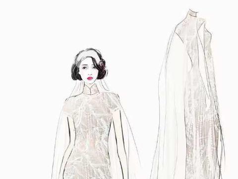时装手绘 | 旗袍设计稿—电脑手绘