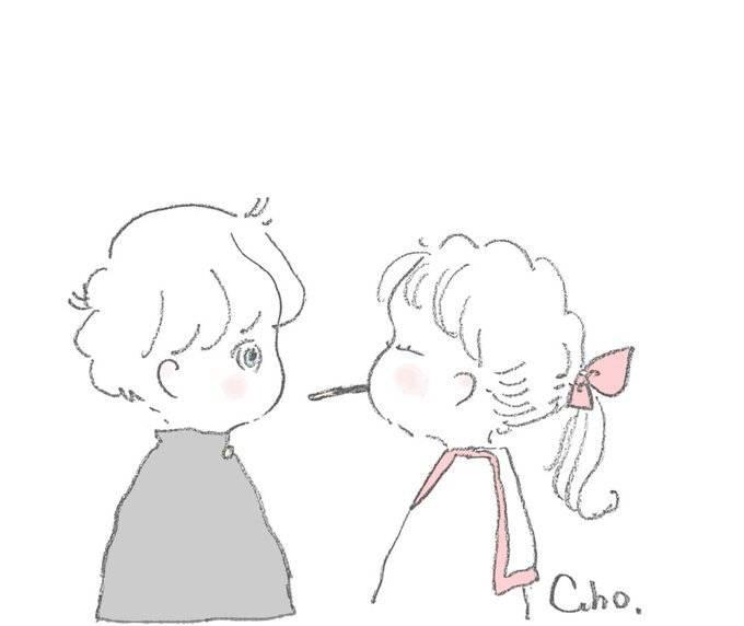 一组齁甜齁甜的情侣简笔画 by | ins:caho