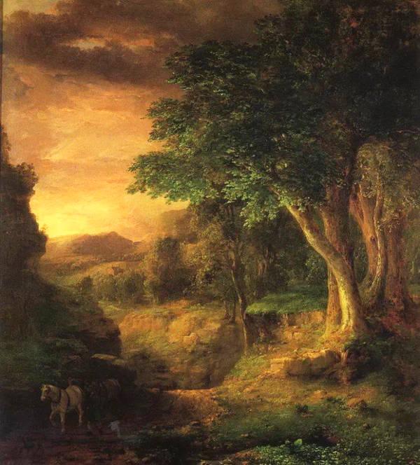 乔治英尼斯 George Inness (1825.5.1 -1894.8.3)是19世纪美国著名风景画家。风景对英尼斯而言是感情的道路。他希望画出东部的风景作为他心灵的明镜,并不是摹仿风景再绘风景。渐渐的,他的绘画创作变成是一种情感的召唤,而不再注意特殊的时空架构。起初,其作品是拒绝被视为道德的怀疑;它们几乎不去判断上帝杰作的细节,或忽略美国的发展。而到了870年到1880年代,人们开始对那感人的挽歌,萦萦于怀的作用力感到兴趣了。相悖于发展中的影响力,在自然的面貌下,他个人的梦确定了不同的观点。深植脑