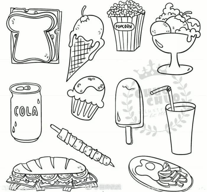 手绘-中秋快到了,一些食物简笔画图片
