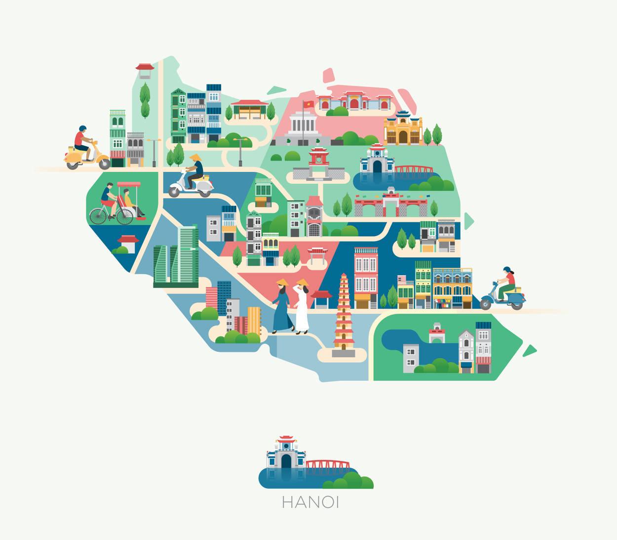 亚洲旅行地图插画,你都去过吗?来自插画师jing zhang的作品图片