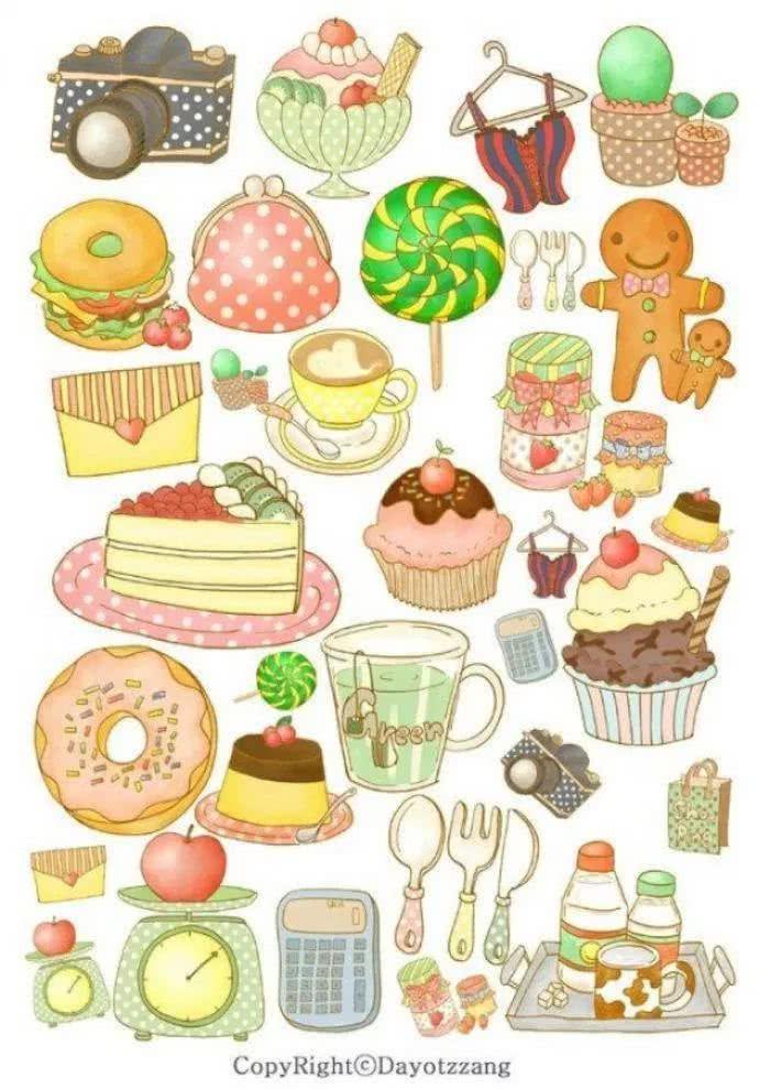 手绘-中秋快到了,一些食物简笔画