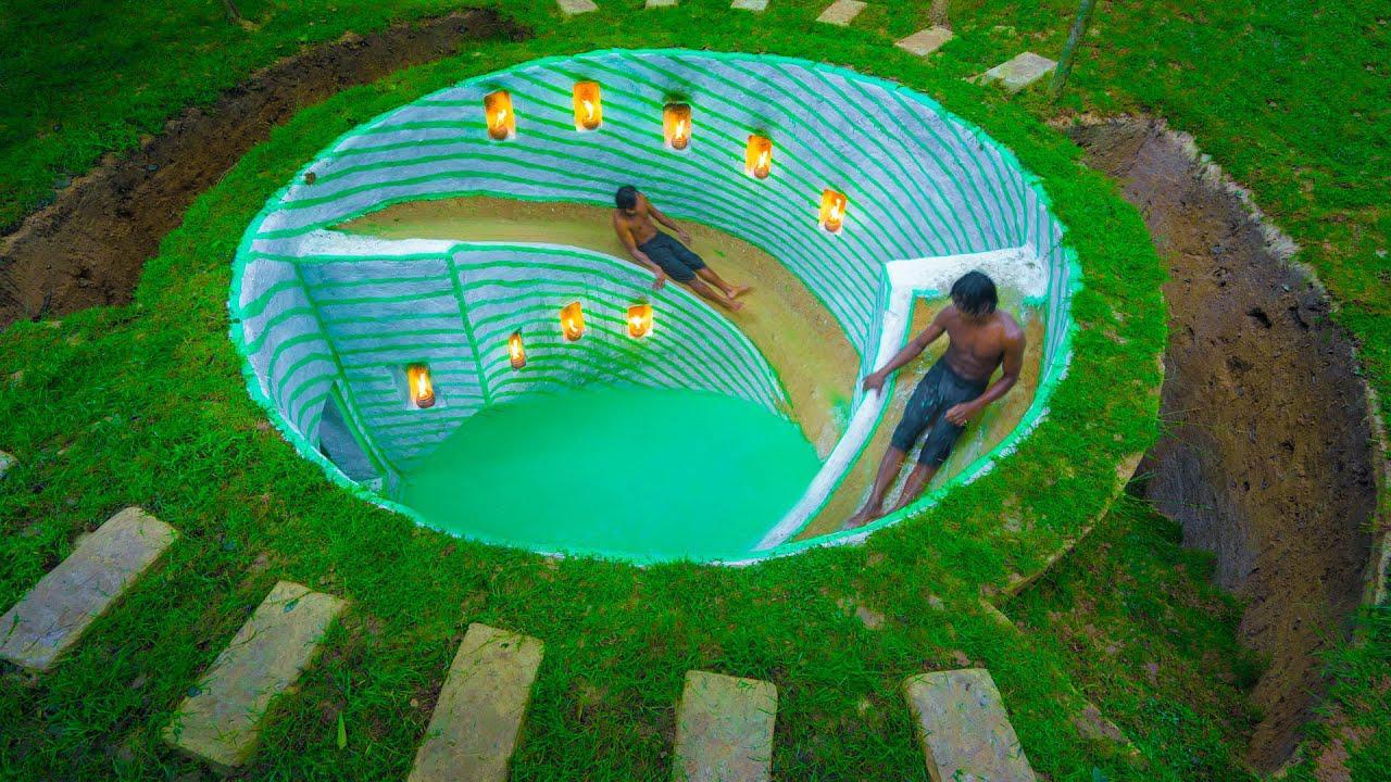 纯人工建造!大神在地下建造水滑梯游泳池