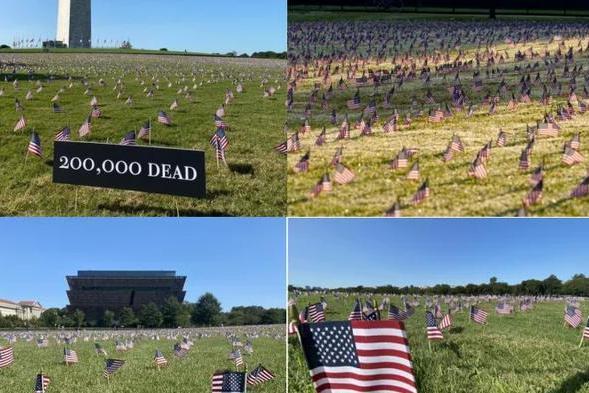2万国旗朝白宫,纪念20万死者!美10亿抗疫资金被挪用干什么去了?
