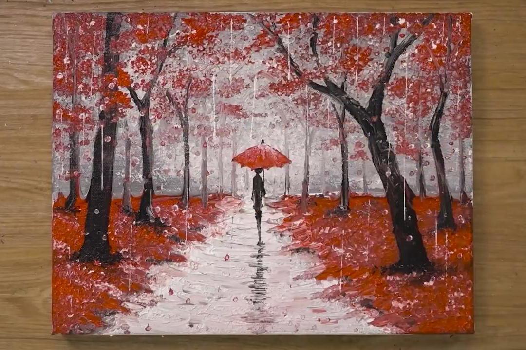 手工绘画作品,带你学习如何绘制一幅下雨的风景画!