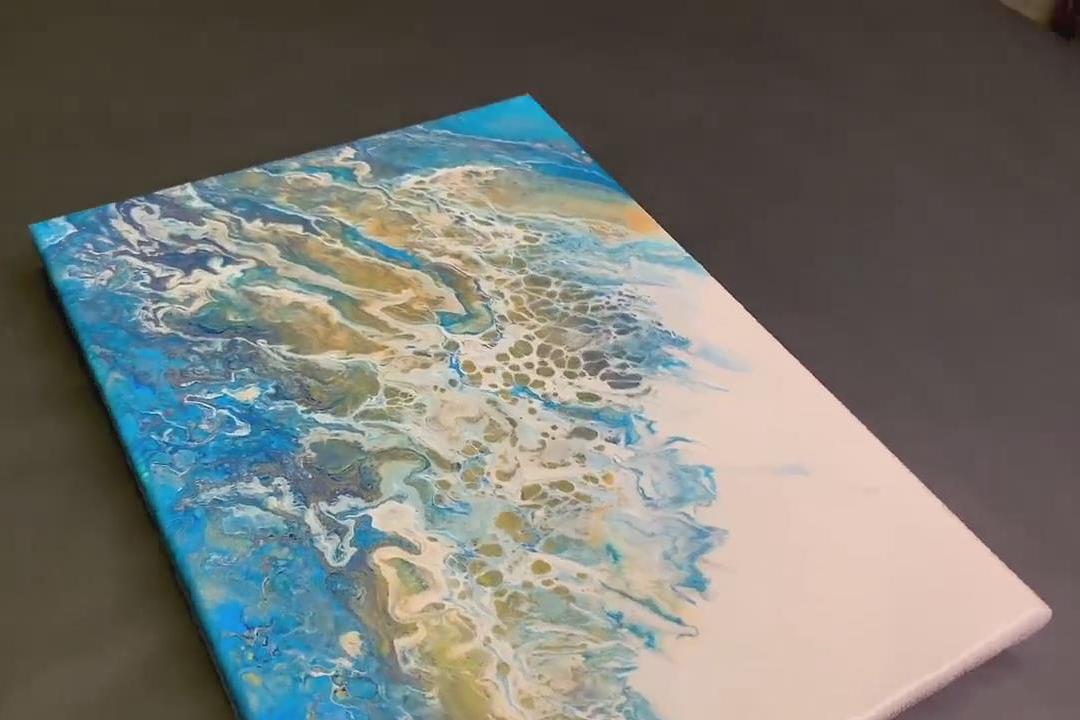 创意绘画作品,带你学习如何用短把扫帚画海洋!