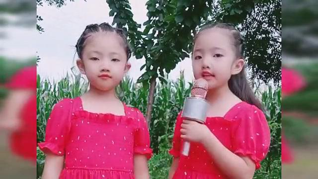 双胞胎姐妹一首《红枣树》,唱得真棒