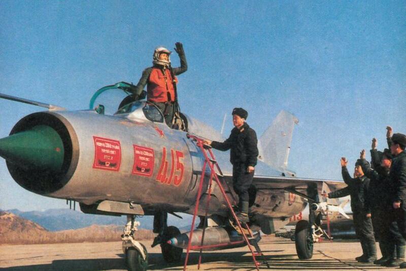 彩色老照片 90年代朝鲜空军的米格21战斗机