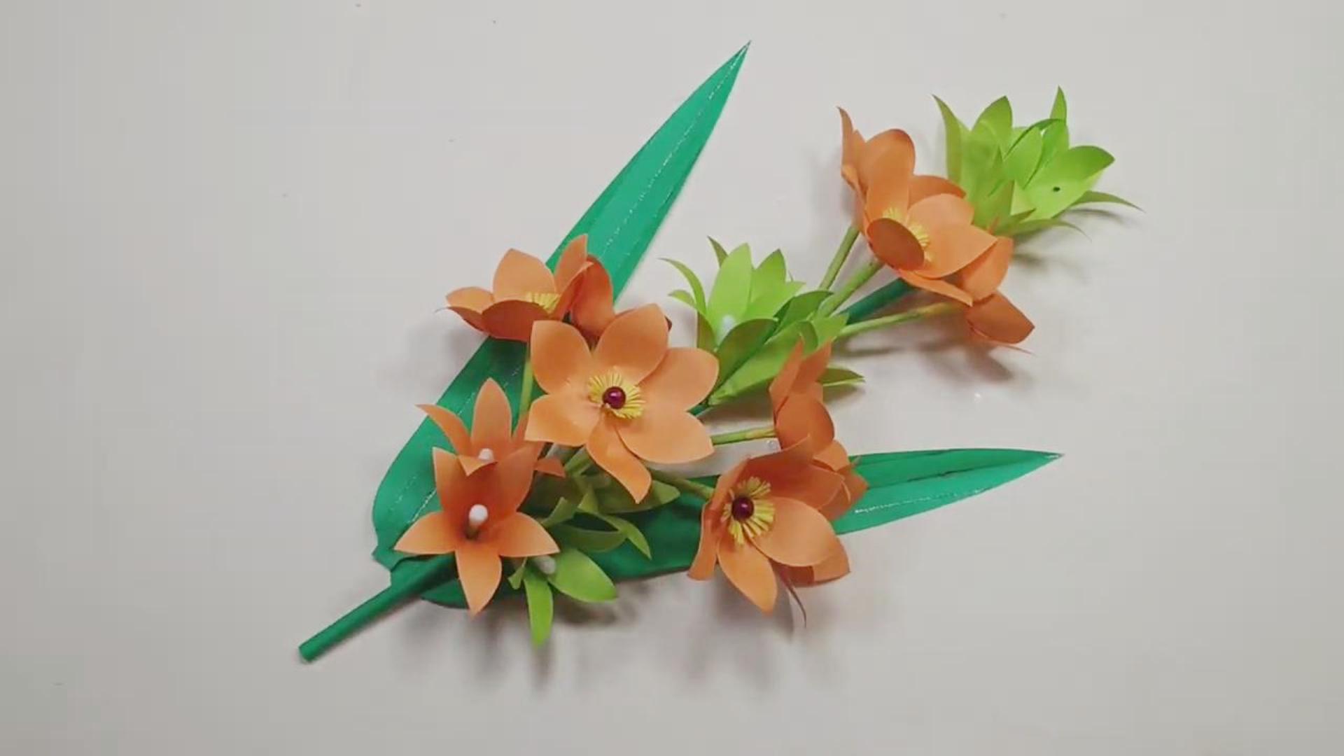 手工纸艺教程,晚香玉纸花的制作方法!
