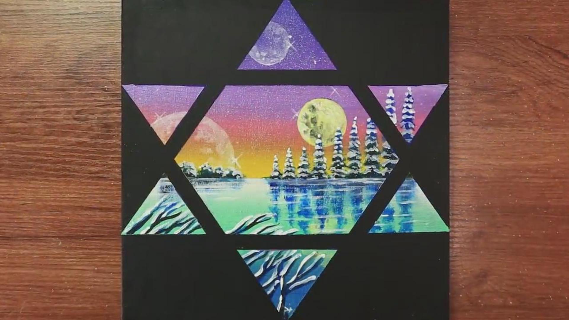 手工绘画教学,六角风景画的绘制方法!