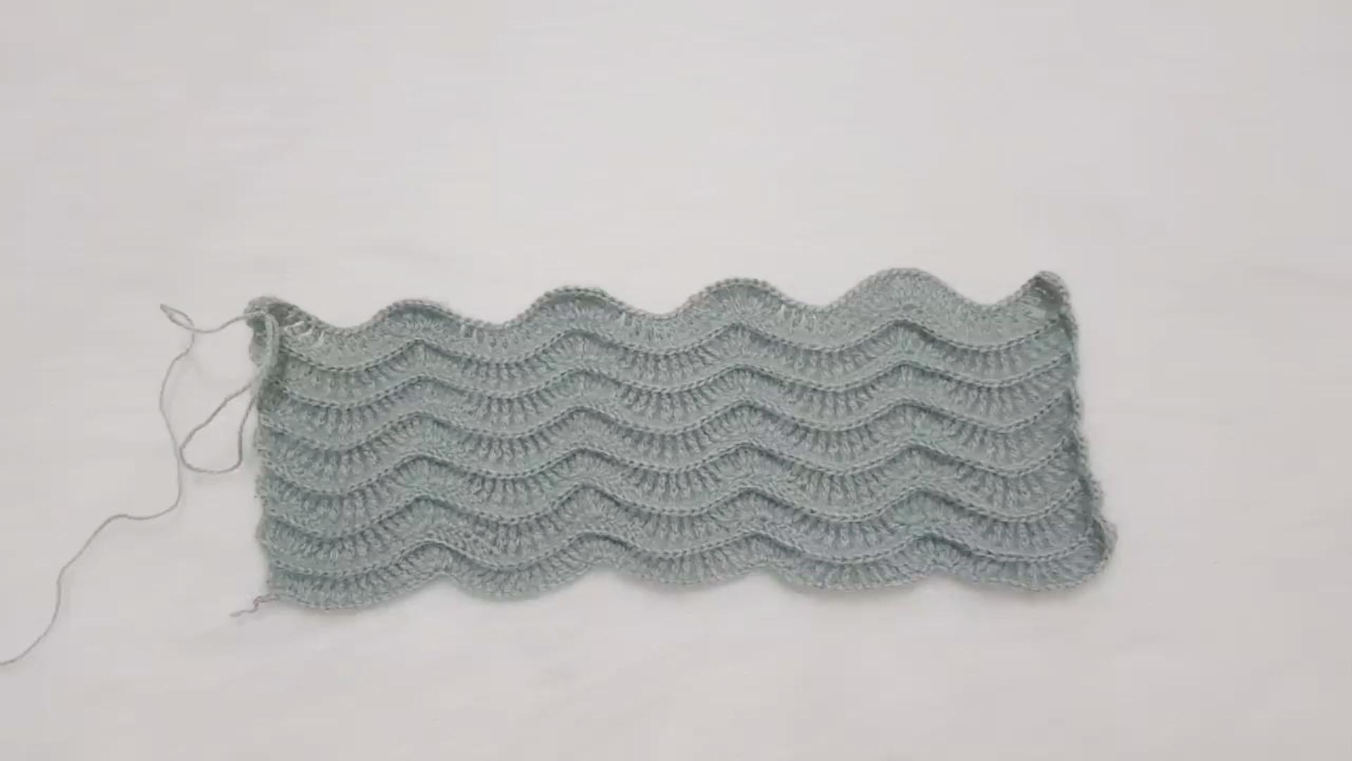 钩针编织教程,波浪花纹的钩织方法,简单易学!