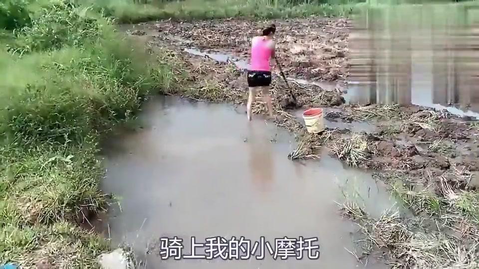 农村姑娘穿的这么漂亮在杂草田里抓鱼,这技术真不是吹的!