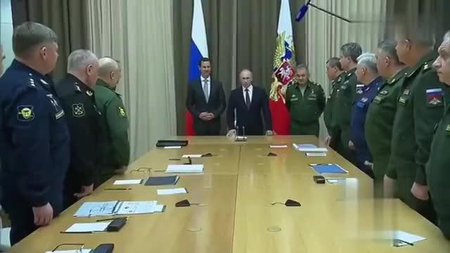 巴沙尔来到俄罗斯与普京见面,普京巴沙尔分别发表讲话,场面霸气