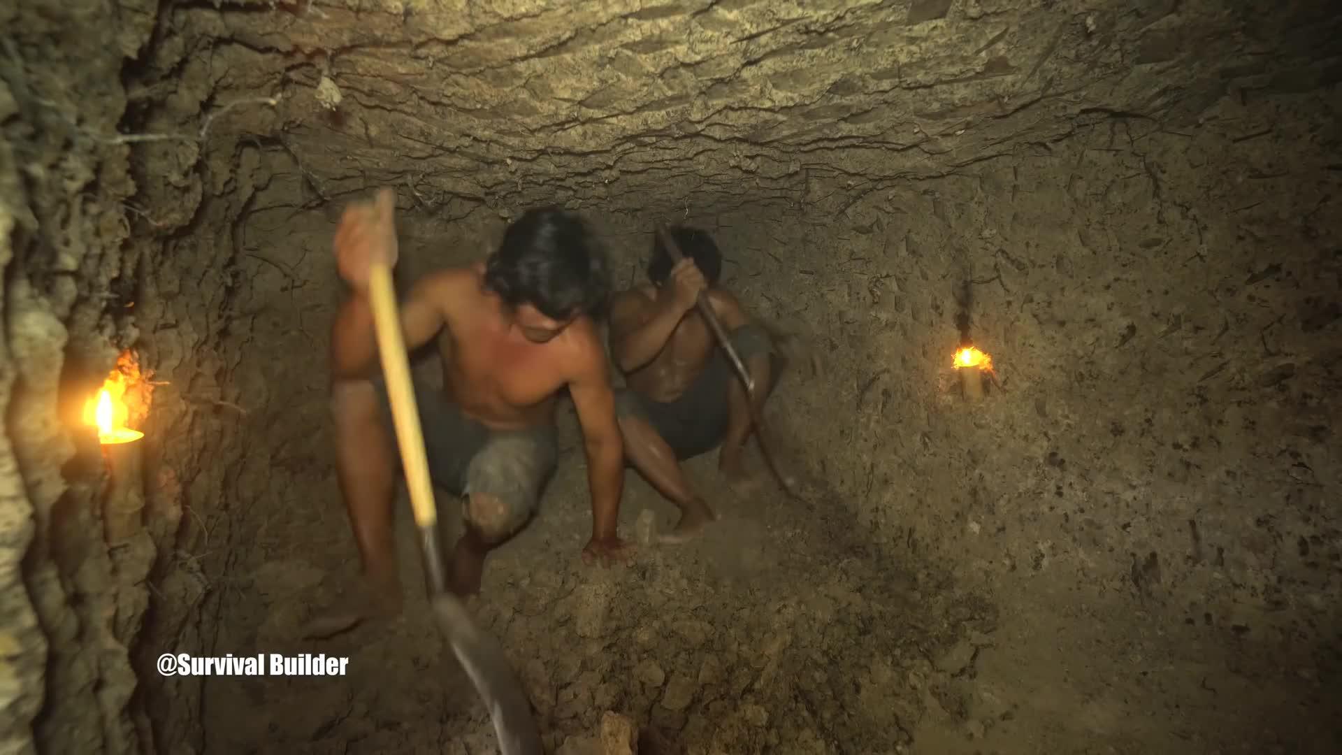 硬核荒野兄弟,徒手挖出地下泳池!点上蜡烛别有洞天