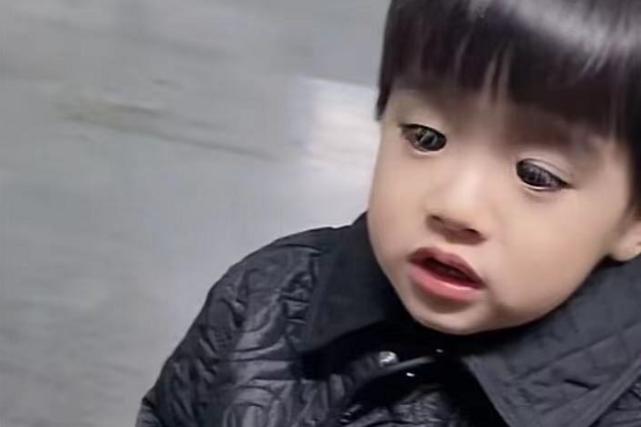 姜潮麦迪娜两岁儿子近照,眼睛大得像戴了美瞳,睫毛密又长挡视线