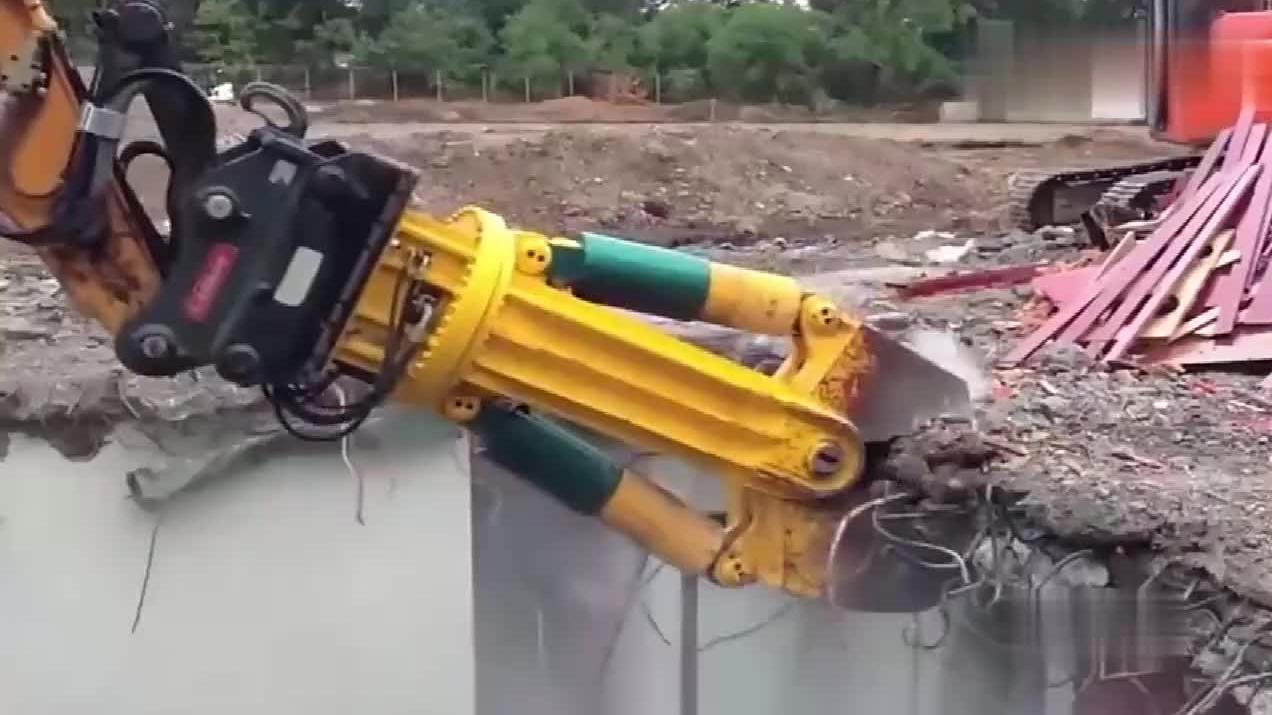 几百吨咬力的剪刀,建筑物瞬间变碎石!