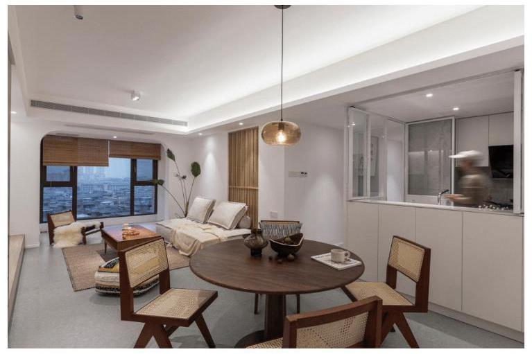 装修公司案例|100㎡新房装修改造只留两房,只因有个宽敞茶室!