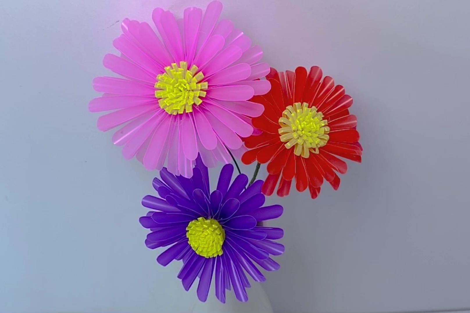 吸管手工创意作品合集:兰花、小雏菊、郁金香、薰衣草、菊花麦穗