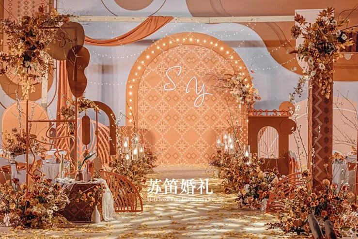 浓郁浪漫且舒适温暖的焦糖橙色系婚礼,仿若置身于秋日童话中