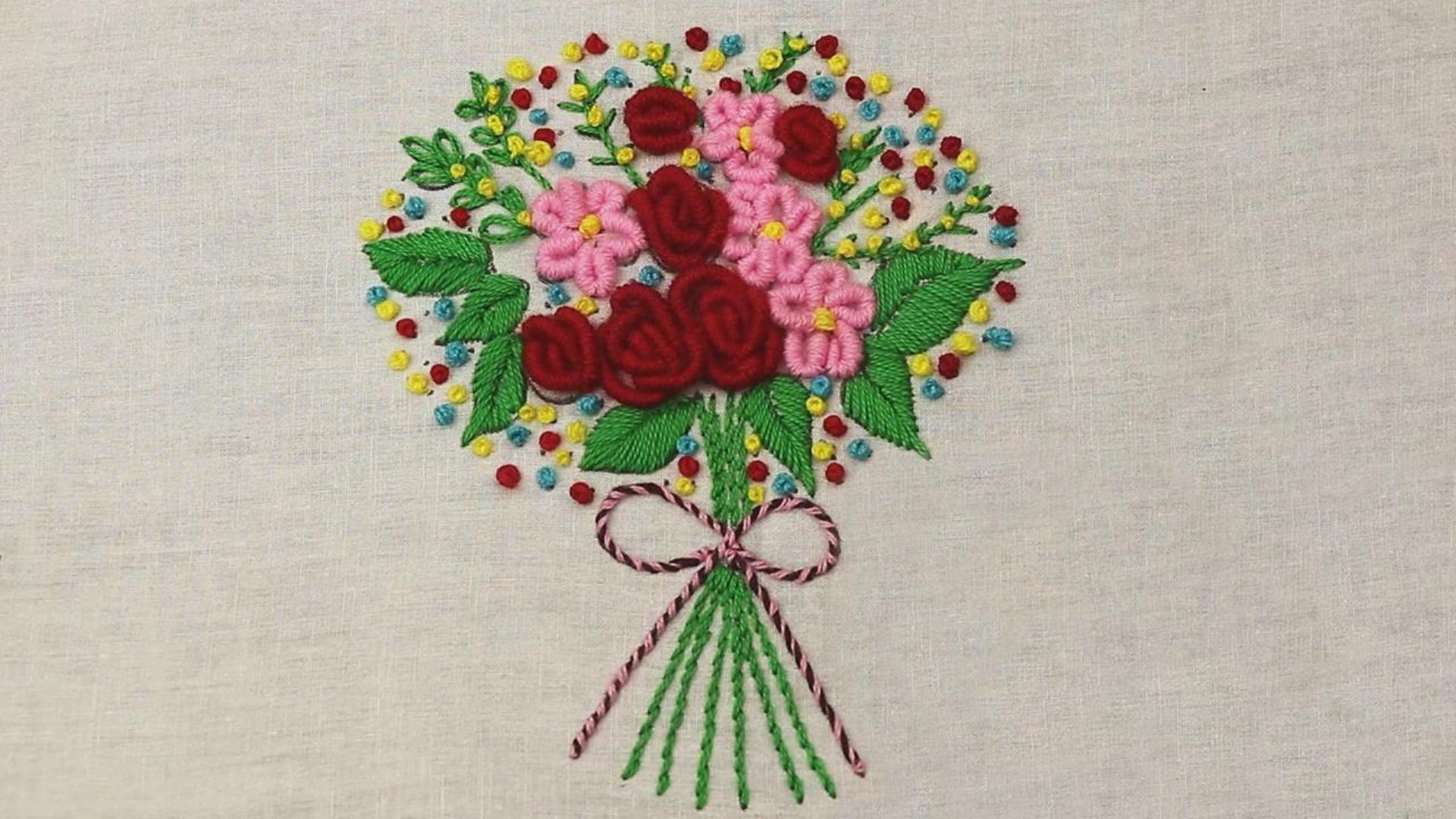 手工刺绣教程,手捧花束图案的刺绣方法!