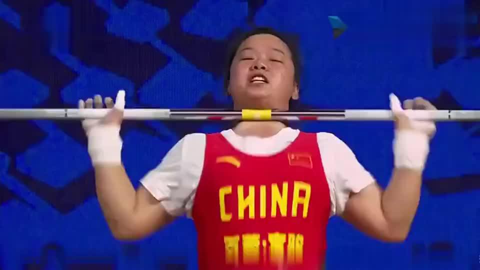 举重世锦赛女子举重71公斤,张旺丽完美的成绩包揽三金