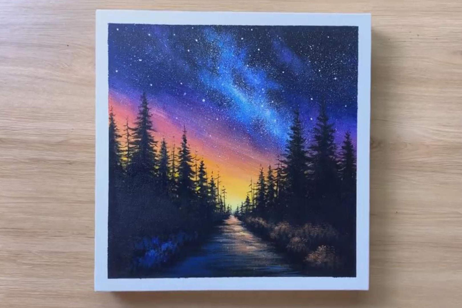 手工绘画作品,带你学习如何绘画漂亮的星空风景画!