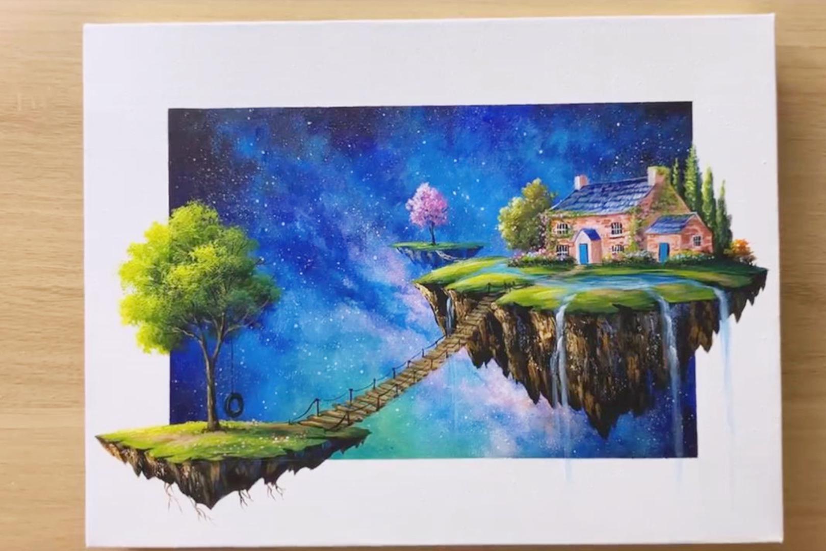 手工绘画作品,带你学习如何绘画漂亮的悬浮岛!
