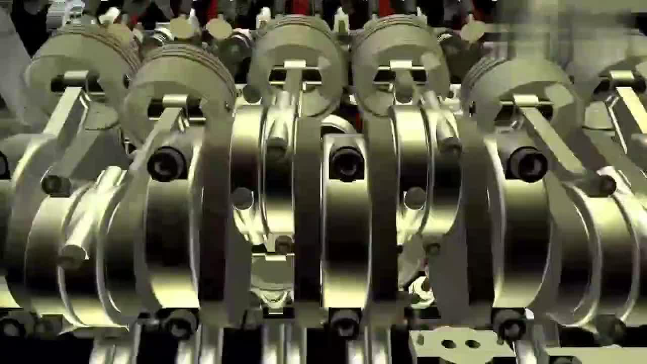 3D动画演示V12缸发动机的安装和运行过程,很清晰直观!