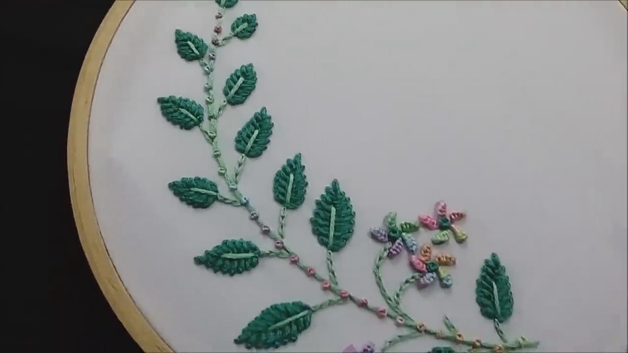 手工绣花教程,简单树枝图案的刺绣方法!