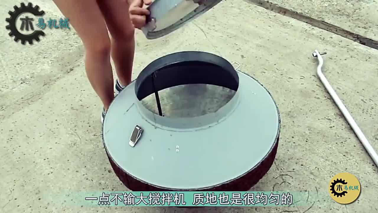 国外14岁小女孩自制混凝土搅拌机,不用油不用电,30元造一台