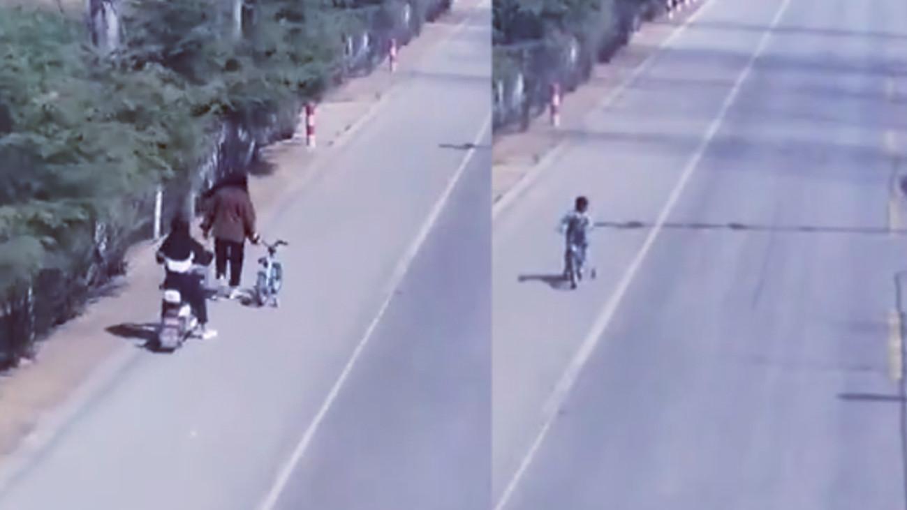 5岁男童骑车上省道自驾半小时  被俩过路中学生劝阻救下