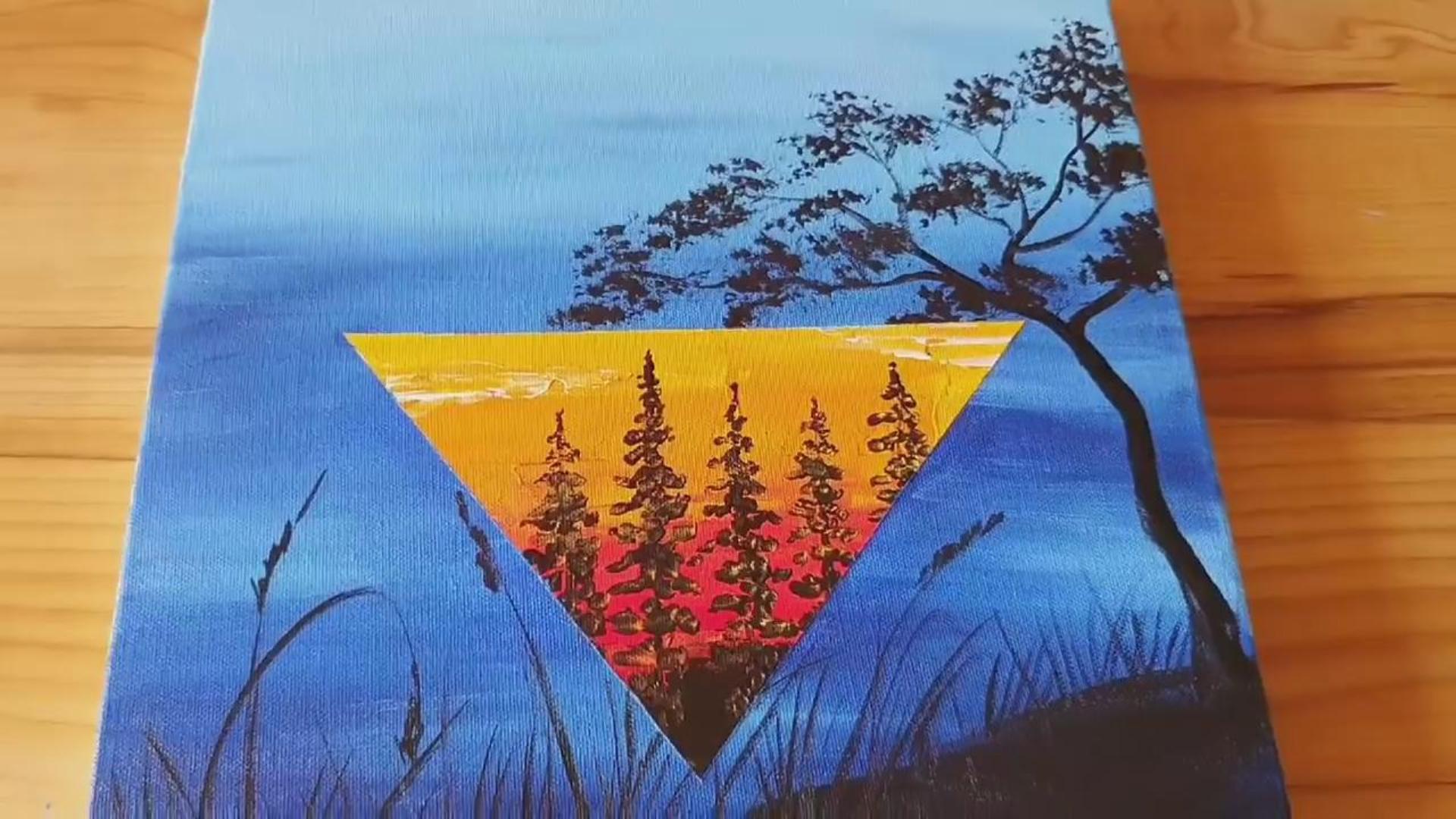 手工绘画教程,三角形夜景画的绘制方法!