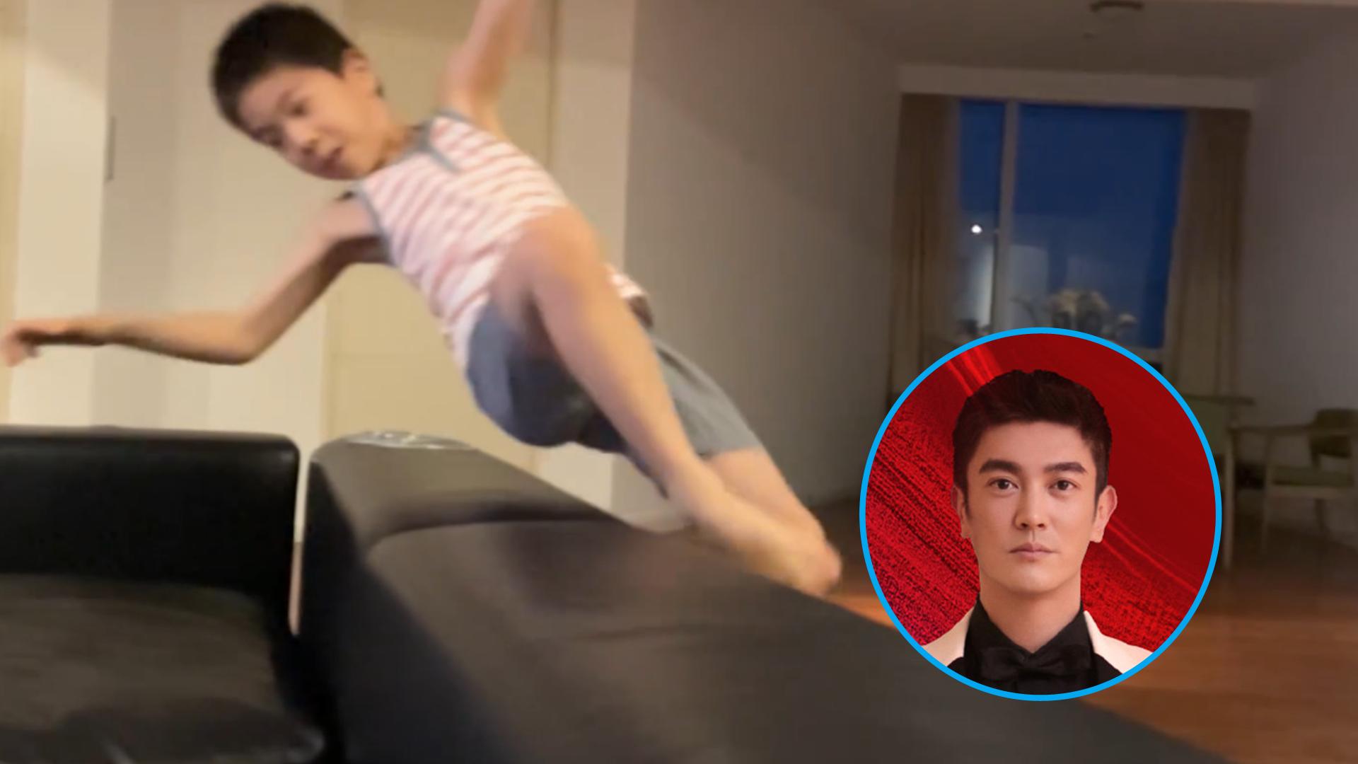 运动基因好强!杜江晒儿子用沙发练跳高,8岁嗯哼背越式过杆超帅