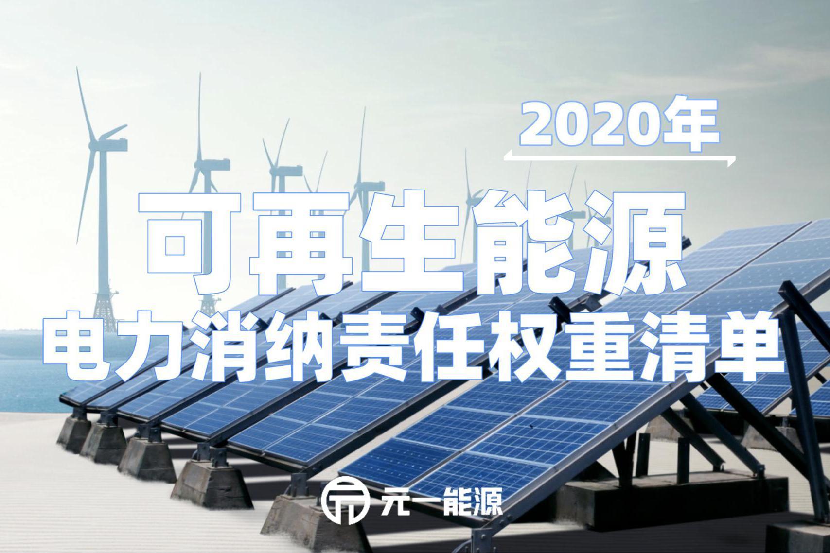 重磅!2020年各省可再生能源电力消纳责任权重清单公布