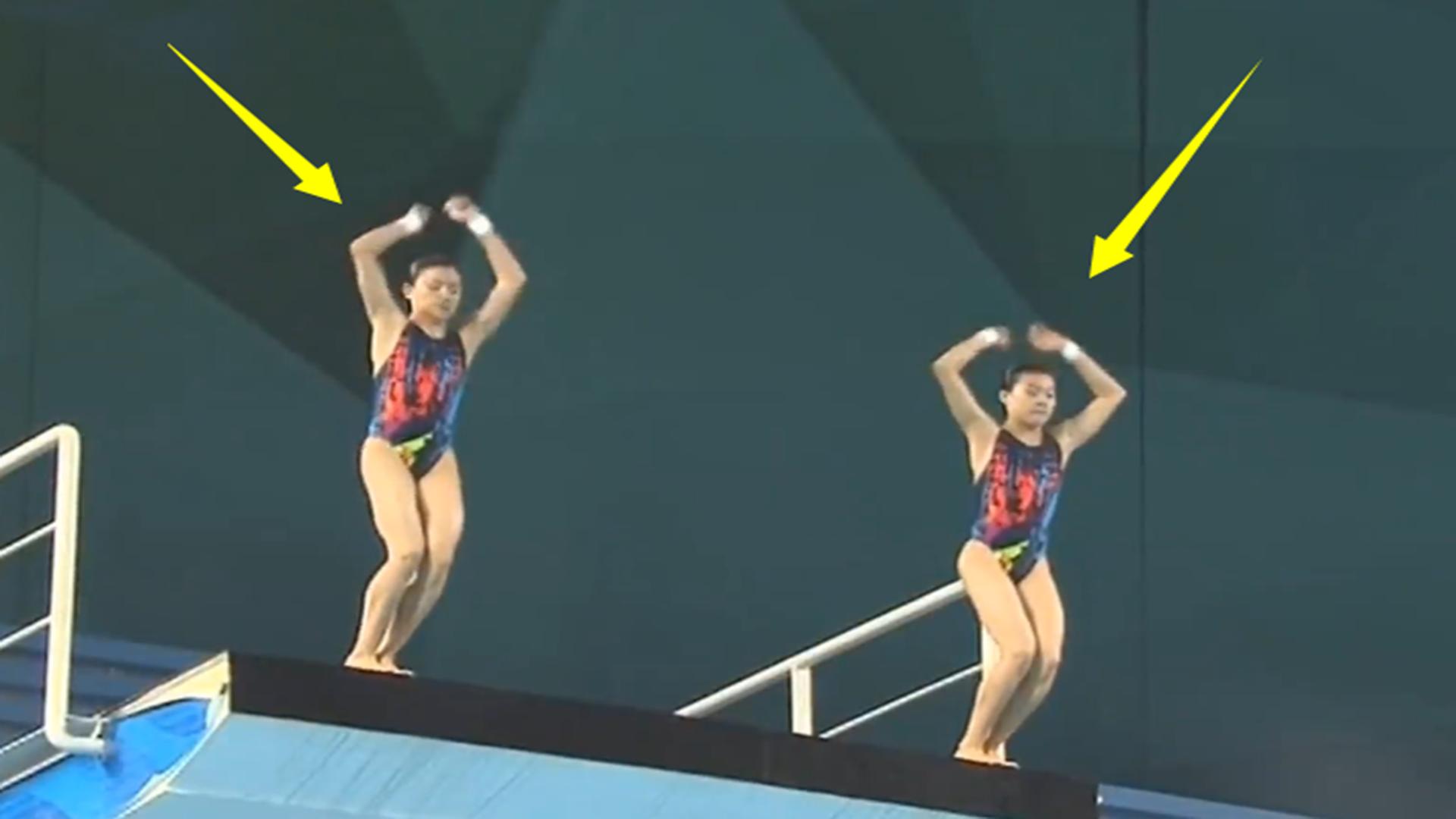 真正的神同步?中国跳水双胞胎姐妹花这一跳爆发,裁判都被征服了