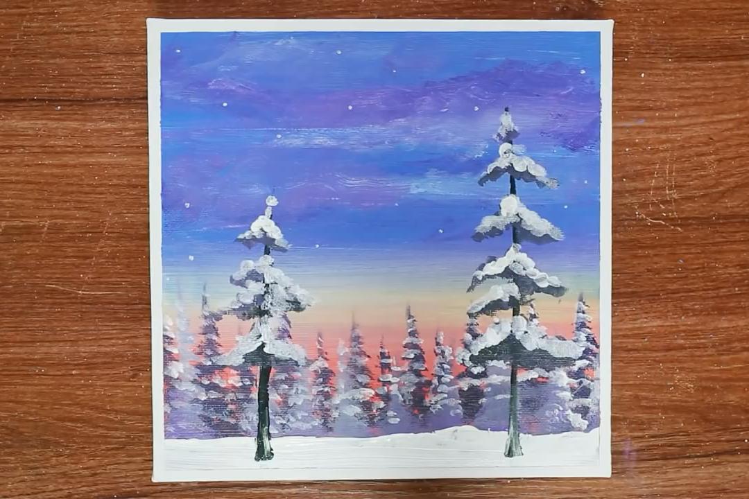 手工绘画作品,冬季树林雪景的简单画法,非常漂亮!