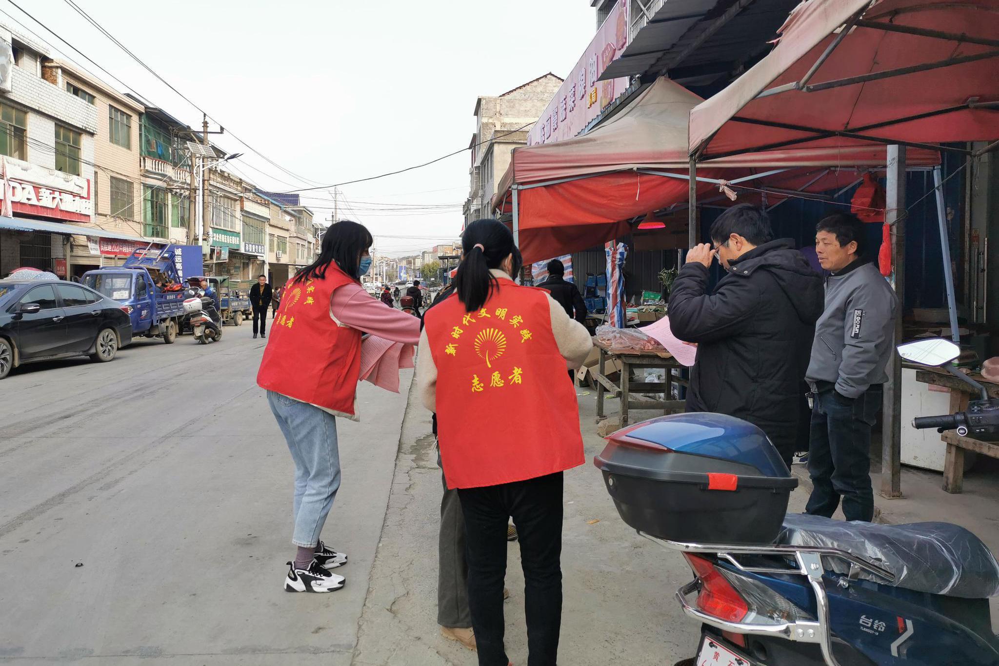 阳新县木港镇组织青年志愿者进湾组宣传疫情防控