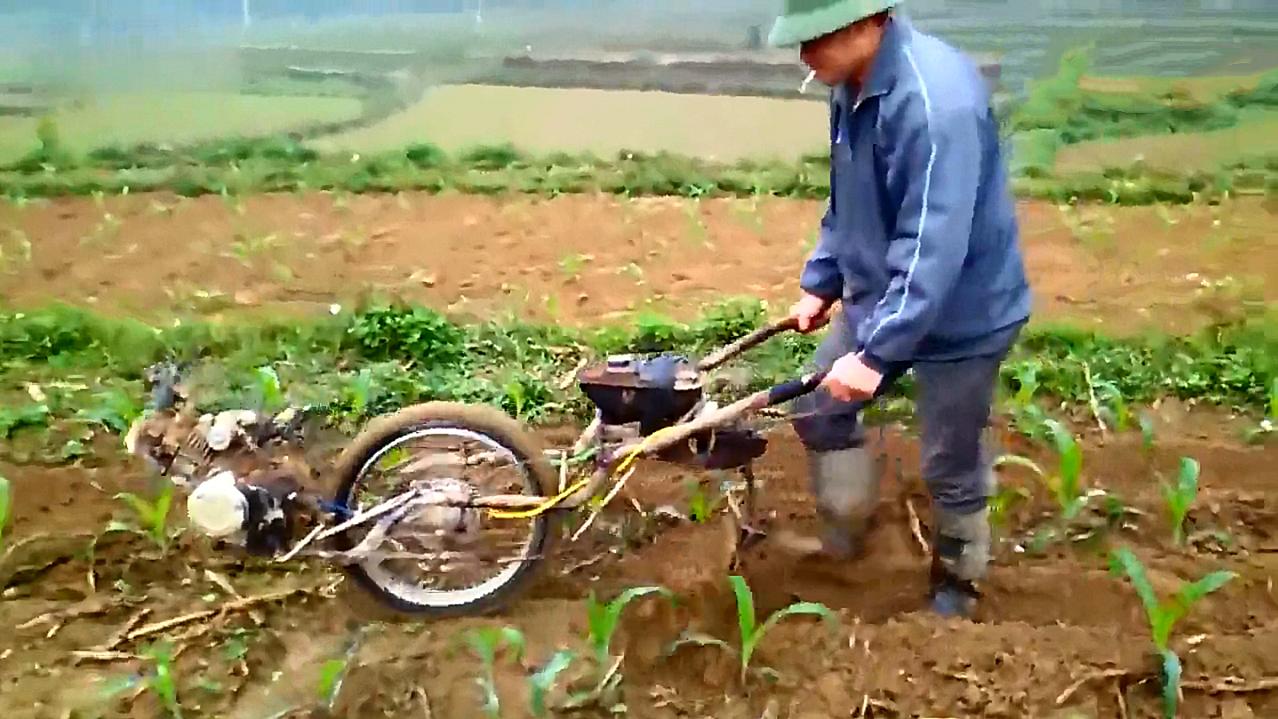 """农民自制""""摩托犁地机"""",一天轻松犁5亩地,200元造一台!"""
