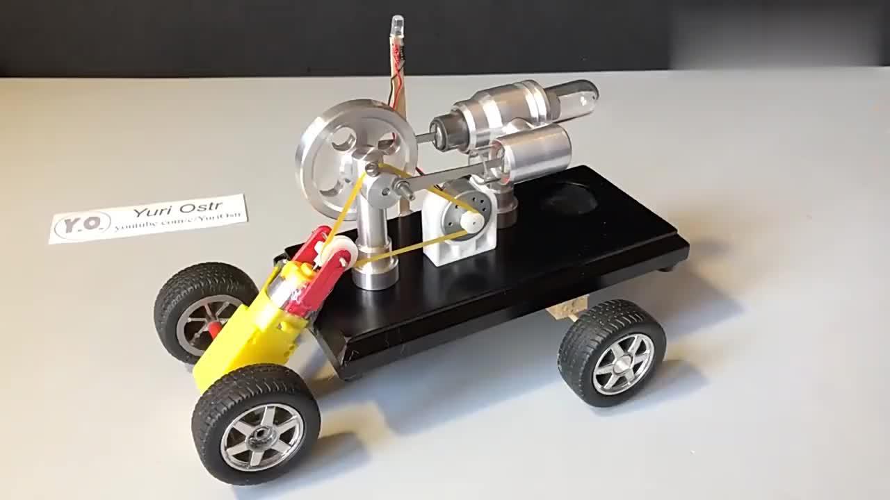 小伙把一台斯特林发电机简单改造后,没想到走起来了,太厉害了!