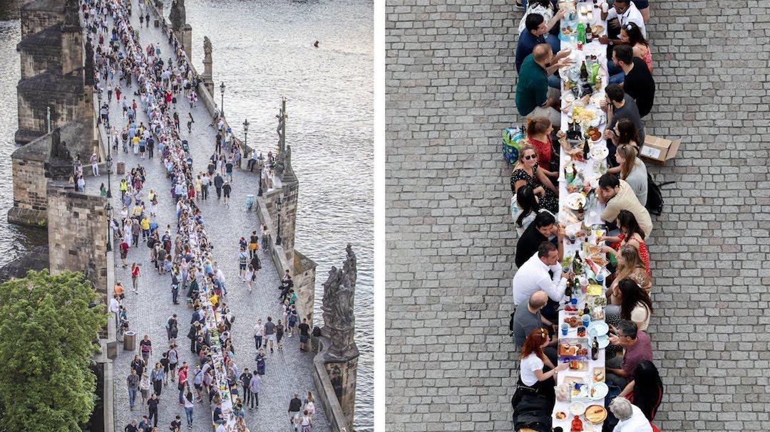 庆祝捷克放松防疫限制,布拉格设515米长桌聚餐