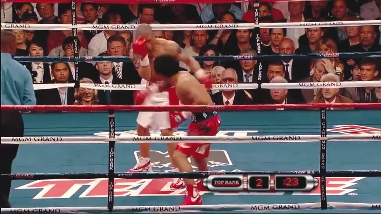 此时的帕奎奥梅威瑟也不敢接招,连硬汉库托也被他重拳KO