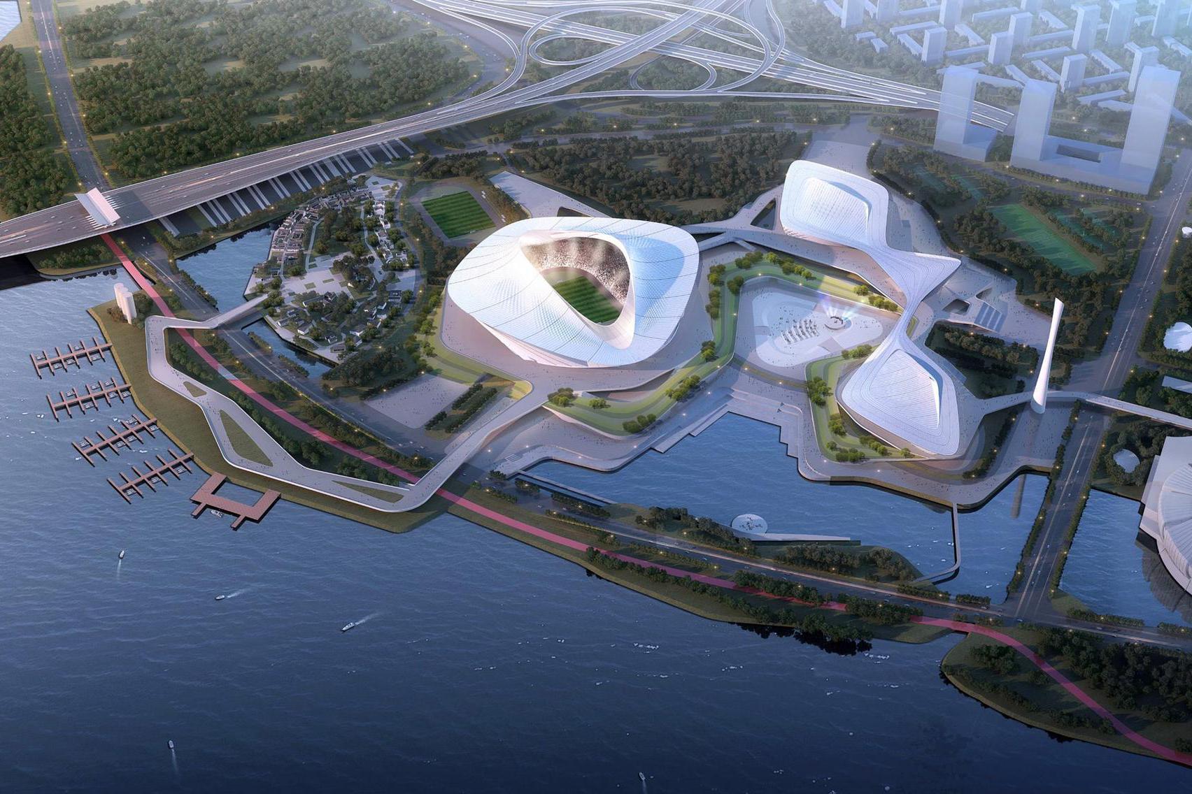 2023年亚洲杯中国组委会调研厦门新体育中心,厦门新地标建筑