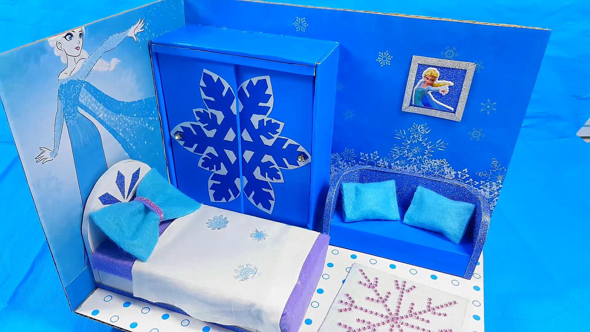 DIY迷你娃娃屋,艾莎公主的天蓝色房间