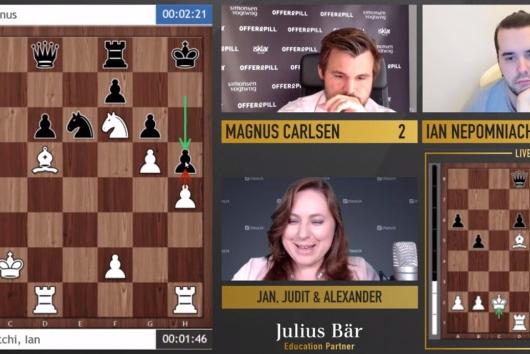 【视频】国际象棋传奇明星赛 卡尔森胜涅波先下一城