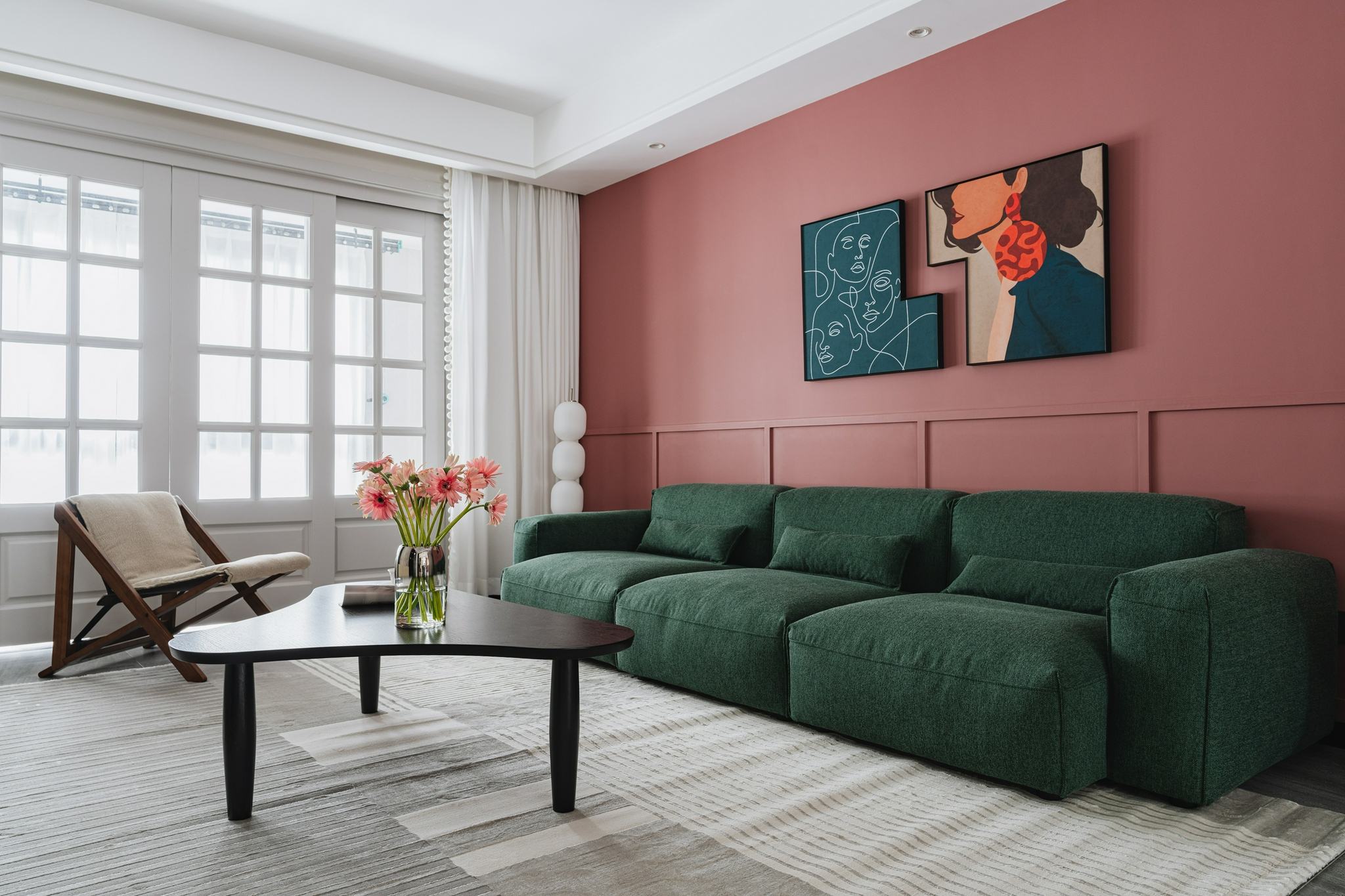 秦珊珊作品:一家三口128㎡复古家,红绿撞色风格混搭,浪漫且甜