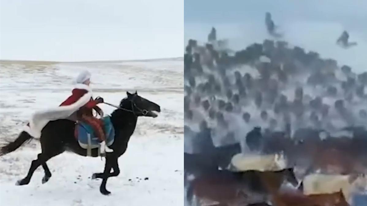 """此宣传自带""""侠""""气!女副县长冰天雪地中身披红斗篷策马奔腾"""