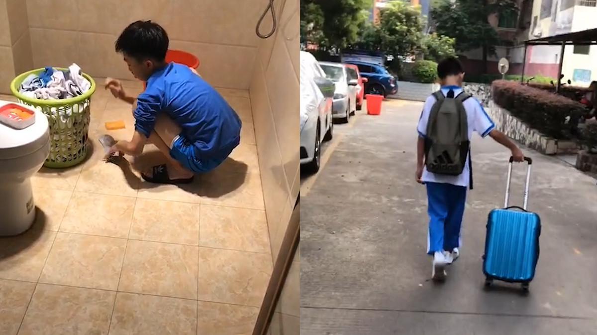 囤了一周的衣物带回家 想用洗衣机洗遭妈妈当场教育