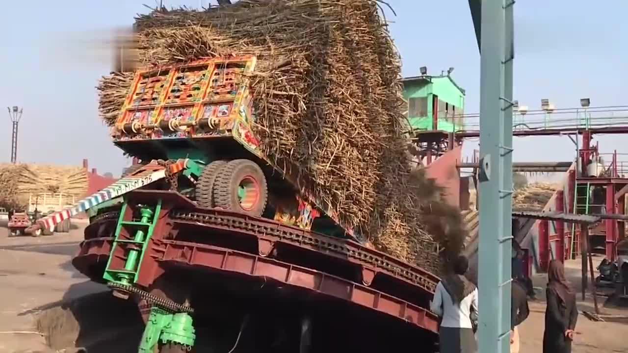满载30吨甘蔗的印度拖拉机卸货一个倾斜就搞定