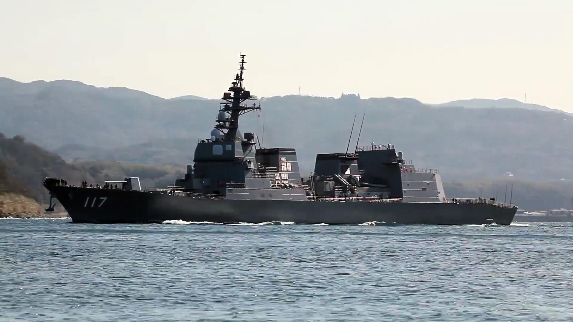 """日本海上自卫队,秋月级驱逐舰""""凉月""""号,佐世保入港!"""